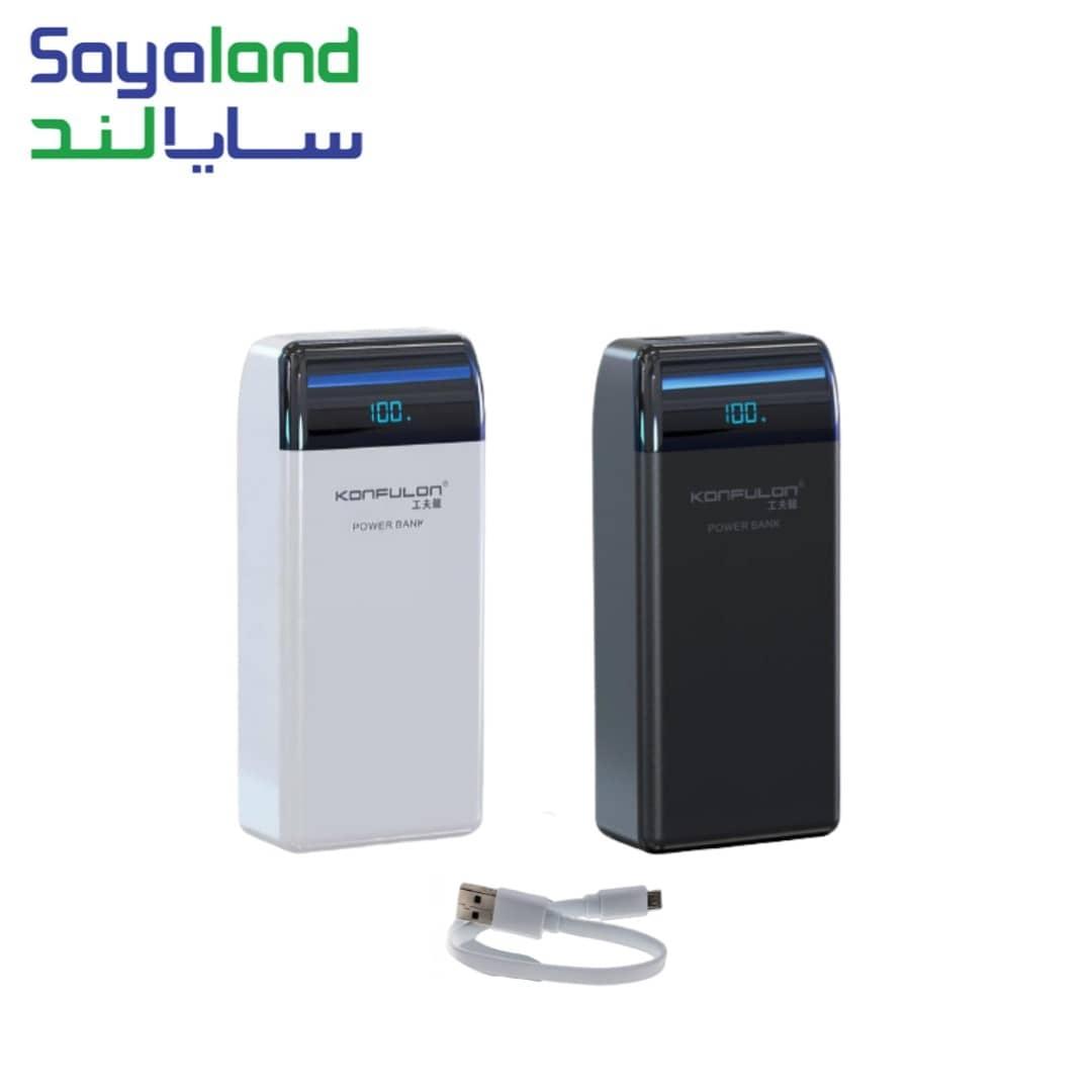 این محصول دارای دو سوکت خروجی که شامل 2 عدد پورت USB با فناوری QC و دارای سه درگاه ورودی که شامل یک پورت لایتنینگ ، یک پورت MicroUSB و یک پورت USB-C می باشد که می تواند به خوبی گوشی ها و تبلت های شما را شارژ کند. با اتصال کابل شارژ به شارژر همراه کانفلون مدل P30Q به طور اتوماتیک روشن می شود و در صورت عدم استفاده بعد از 35 ثانیه به طور خودکار خاموش می شود.